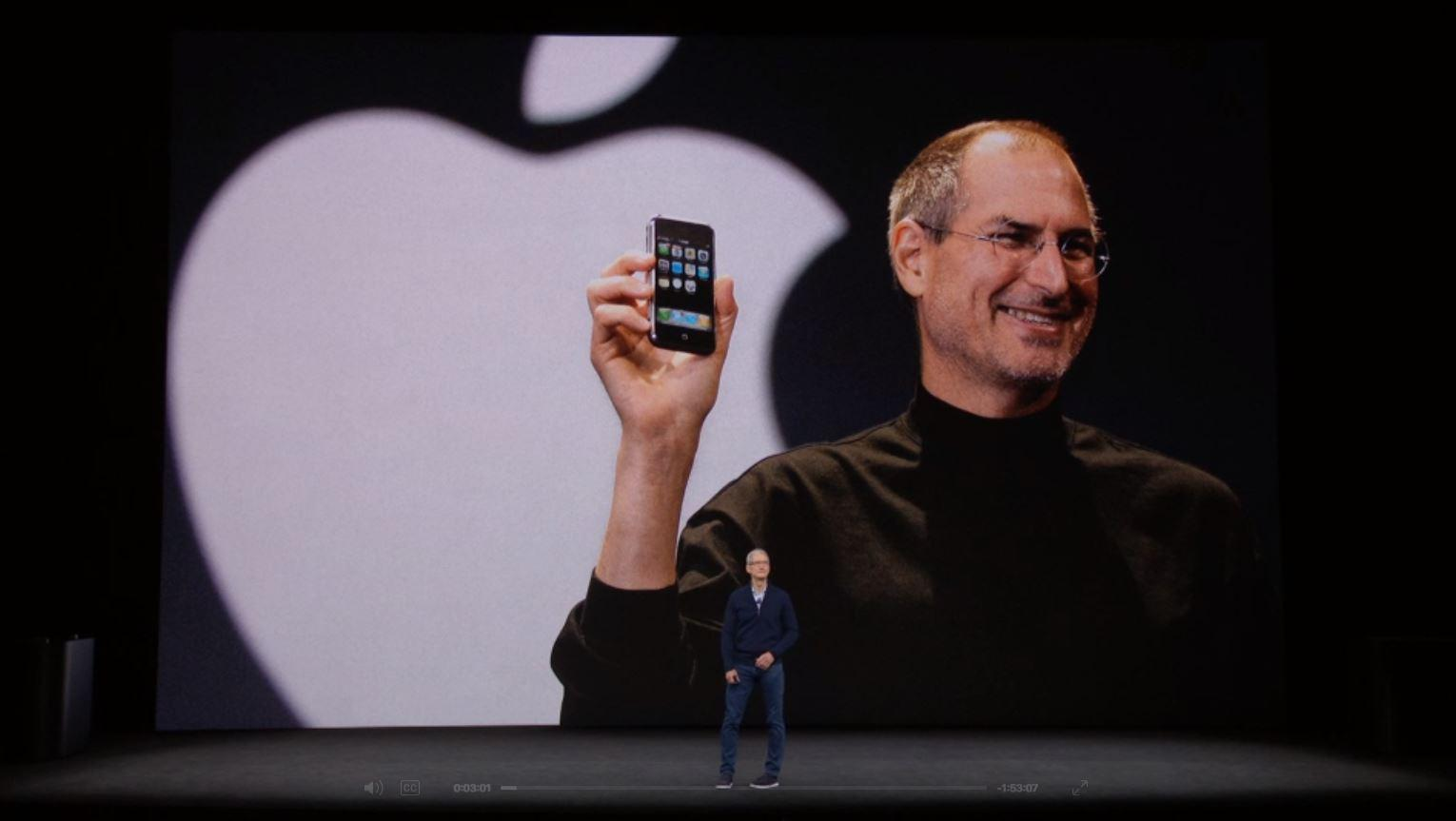 The 2017 Apple launch presentation of the iPhone X, iPhone 8 and iPhone 8 Plus, at the Steve Jobs Theatre.